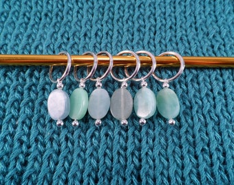 Natural Green Amazonite Stitch Markers set of 6