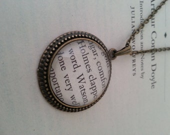 Holmes and Watson Book Page Necklace Sherlock Holmes