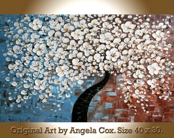 Original Modern  White  Blossom Tree  Texture  Impasto Painting Palette Knife Landscape White Flowers  Painting. 40 x 30  Made2Order.
