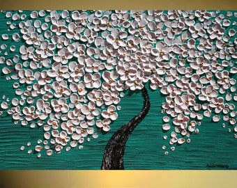 Original Modern   Impasto Palette Knife Aqua White Cherry Tree Painting.Size 40 x 30. Made2Order.