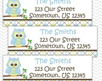 Blue Owl - Personalized Address labels, Stickers, Baby Shower, Birthday
