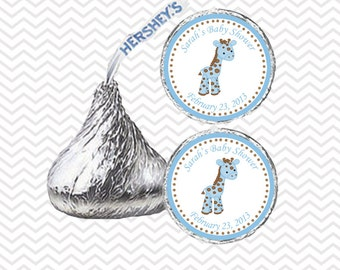 Blue Giraffe Baby Shower - Personalized Hershey Kiss Stickers, Hershey Kiss Labels, Party Favors, Favor Sticker