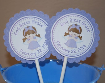 Kneeling Angel Girl Purple Baptism Christening First Holy Communion Cupcake Topper - Set of 12 Personalized Religous Celebration Decoration