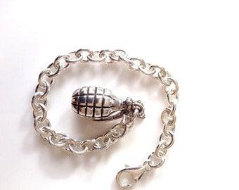 Solid Sterling Silver Hand Grenade charm bracelet or necklace