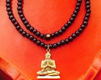 Black praying Buddha necklace, black wood beads necklace, Buddha necklace