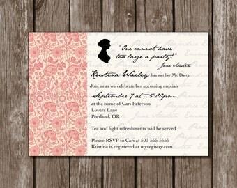 Jane Austen Inspired Bridal Shower Printable Invitation//Digital File//Vintage*Shabby Chic/Bridal Shower*Baby Shower