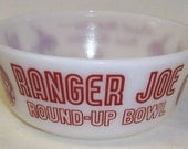 Hazel Atlas White with Red Lettering Childs RANGER JOE RANCH 5 Inch Diameter Cereal Bowl