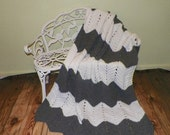 On Sale- Crochet Ripple Afghan Blanket Throw Handmade Chevron Large Size Gray And White