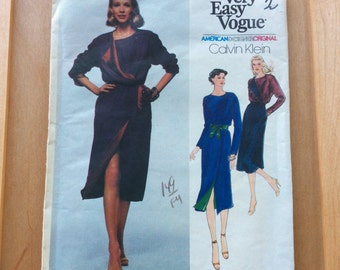 Calvin Klein Wrap Dress Pattern, American Designer Original Pattern, Vogue 2277,Size 8, Uncut, 1980s