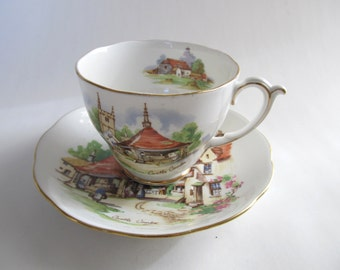 On Sale! New Year Discount Castle Combe Wiltshire England Souvenir Teacup by Roslyn China