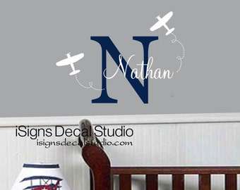 AIRPLANE Personalized Wall Decal, Kids Room Decal, Boys Decal, Vinyl Wall Stickers
