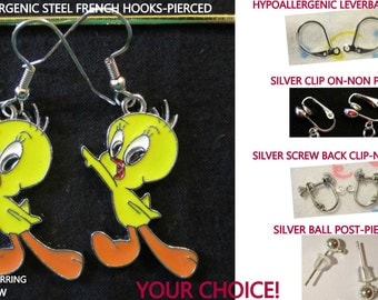 Tweety Bird Earrings Canary -CHOICE- Steel Hypoallergenic French Hook Leverback Post Pierced OR Clip On