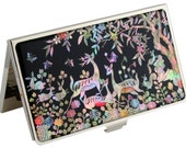 Nacre abalone shell Mother of pearl Business card holder credit ID card case deer design #56