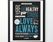 "Inspirational Print "" Work Hard, Worry Less, Love Always"" Motivational Poster, Typography Print, Vintage Wall Art, Inspirational Art"