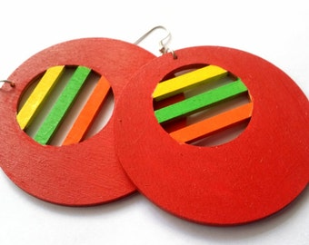 Rainbow Circle Hand Painted Wooden Earrings