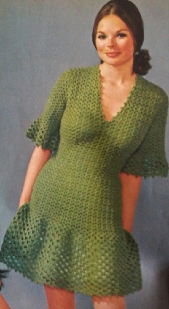 Free Crochet Ruffle Dress Patterns : Vintage Crocheted Ruffled Dress Pattern by MAMASPATTERNS ...