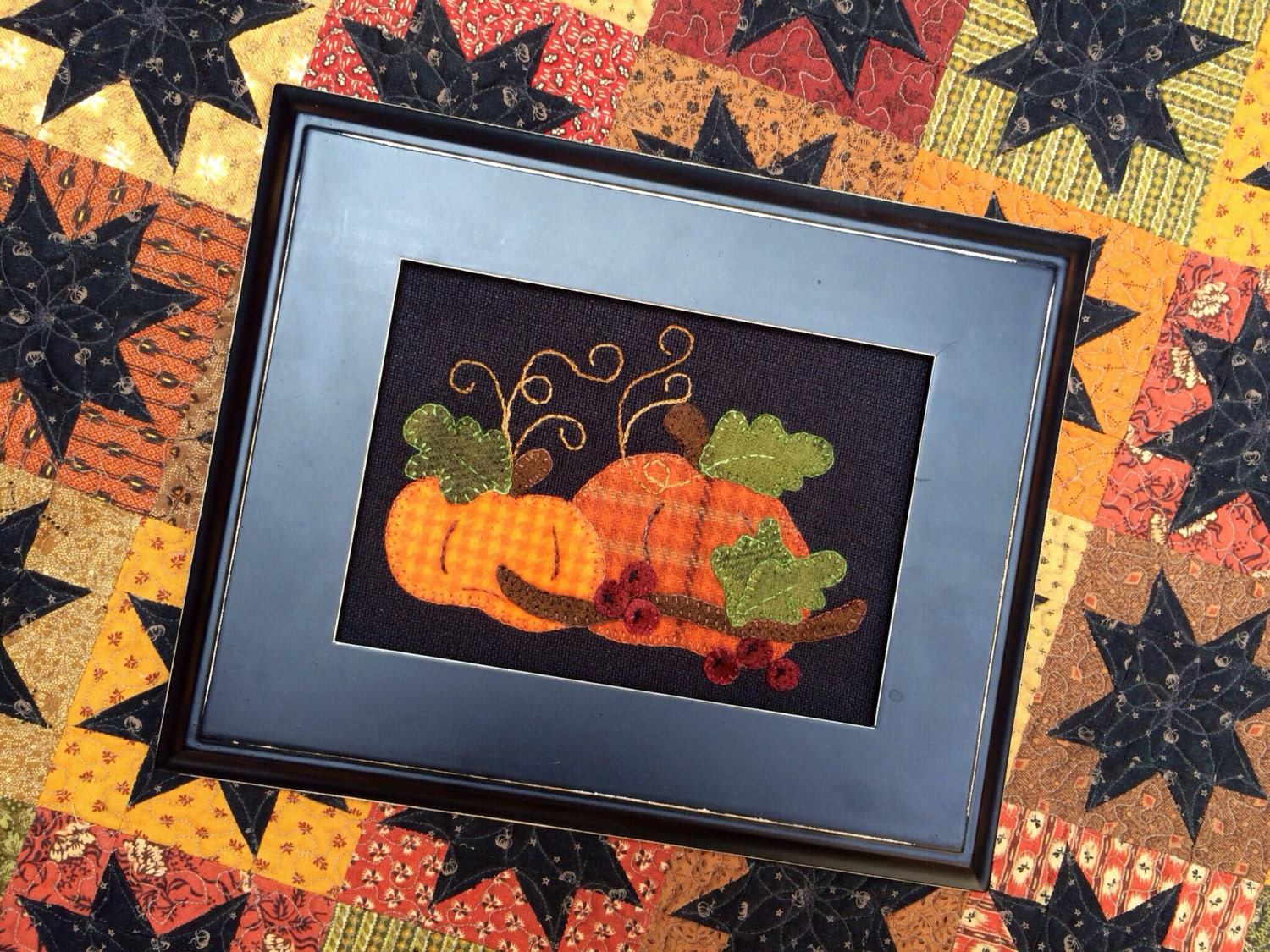 Pumpkin Harvest Wool Applique Kit And Pattern