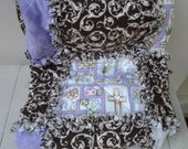 Christian Baby Girl Rag Quilt, Sale Priced, Christian Baby Quilt, Purple and Brown Stroller Quilt