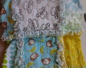 Flannel Baby Rag Quilt, Turquoise Monkey Baby Quilt, Gender Neutral Monkey Rag Quilt, Monkey Nursery Crib Quilt