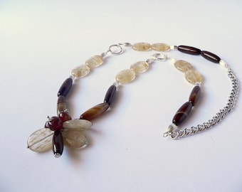 Statement brown and yellow necklace handmade with semiprecious quartz and agate stones. ooak made in Italy.