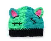 FrankenKitty Monster Cat Hat - Frankenstein Kitty Beanie - Creepy Crochet Hat - Green Beanie with Cat Ears - Kawaii Kitty Hat