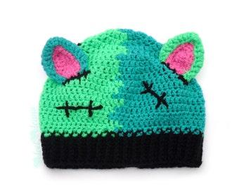 FrankenKitty Beanie. Frankensteins Monster Hat. Creepy Cute Crochet Hat. Womens Winter Cat Ear Hat. Kawaii Kitty Hat. Girls Halloween Hat