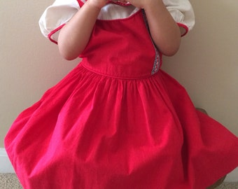 Beautiful Christmas Vintage Red Little Girls Dress