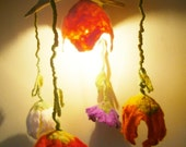Drift Wood Hanging Light with Felt Flowers -- Driftwood Rustic Room Decoration -- Ready to ship