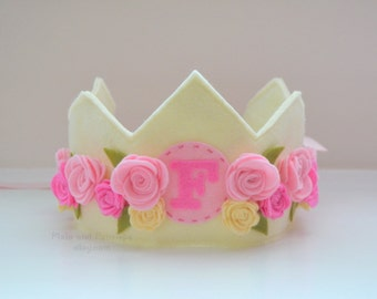 Felt Princess Crown with pink roses, personalized, birthday crown