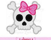 Instant Download Girl Skull Applique Embroidery Design NO:1575