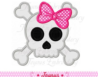 Instant Download Girl Skull Applique Embroidery Design NO:1575