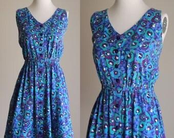 SALE: Vintage 90s Cotton Sundress - Floral Dress - Sleeveless Button Front Mini Dress - Elastic Waist - Size XL / Plus Size