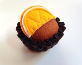 Pretend Play Felt Food Chocolate Orange Tart