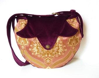 "Medieval Marie Antoinette Victorian Boho Brocade Bag Purse ""Dwyn"" Pink Burgundy Hippie Velvet Gothic Renaissance Nostalgic Fairy Gypsy Noble"