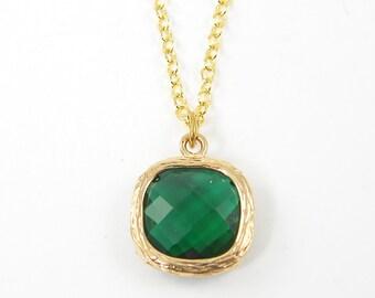 Emerald Green Pendant Necklace, Emerald Drop Necklace, Green and Gold Necklace with 18 or 20 Inch Gold Plated Chain