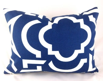 Outdoor Lumbar Pillow Cover ANY SIZE Decorative Pillow Cover Navy Pillow Richloom Outdoor Carmody Navy Blue