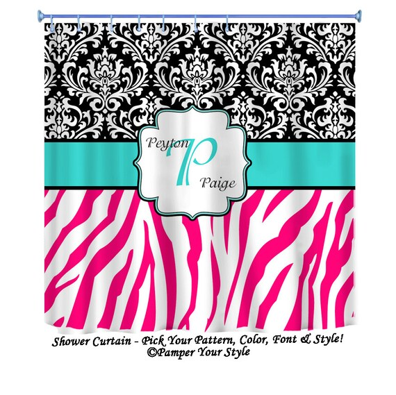 Hot Pink Zebra Bathroom Accessories: Items Similar To Damask And Zebra Personalized Shower