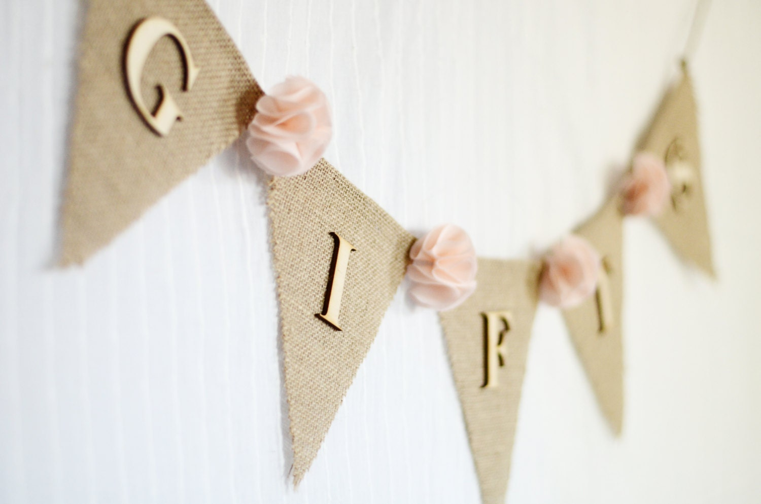 Burlap wedding gifts banner blush pale pink shabby chic for Wedding gift decoration