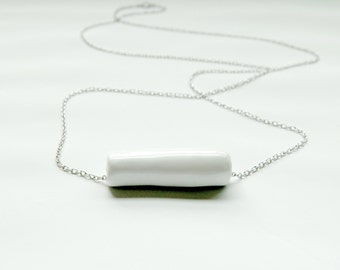 Ceramic Tube Necklace - White Ceramic Jewelry