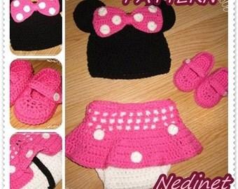 Crochet Minnie PATTERN, crochet pattern baby, dress set, hat, dress, shoe set , pdf tutorial