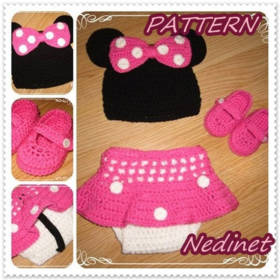 Free Crochet Pattern Minnie Mouse Shoes : Crochet Minnie PATTERN crochet pattern baby dress set hat