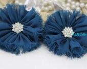 2 pcs- Soft Shabby Chiffon Flowers - Dark Blue -  Fabric Flowers -Vintage Flowers - Boutique Flowers- Applique - DIY Supply - 3.99