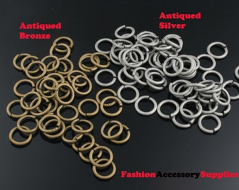 10grams-7mmX1mm Antiqued Bronze,Silver Brass Jump Rings(A468)