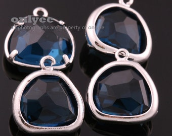 2pcs-12mmX13mmRhodium Faceted NEW Style Drop With Glass pendants-Montana(M332S-H)