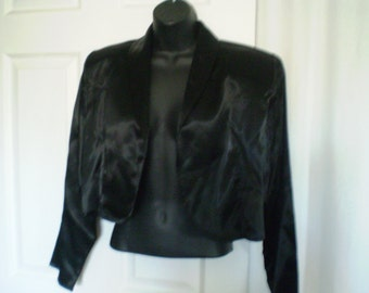 BLACK SATIN Cropped Bolero Jacket Blazer Size 9