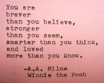 Quote card WINNIE THE POOH quote, encouragment card hand printed