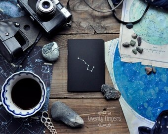 "Black notebook-sketchbook with a carved pattern - constellation ""Ursa Major"" (small size)"