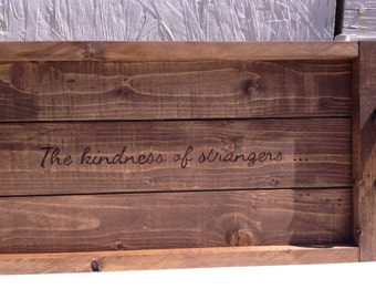 Wood serving tray with handles, The Kindness of Strangers, wood burned tray, rustic serving tray