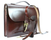 """Brown Fine English Bridle Leather Briefcase 16"""" x 12"""" x 2.5"""" - 100% American made leather"""