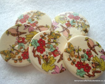 30mm Wood Button Bird and Butterfly Print Pack of 5 Wood Buttons W3040